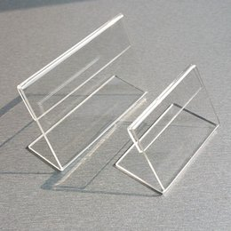 $enCountryForm.capitalKeyWord Australia - Acrylic T1.3mm Clear Plastic Table Sign Price Tag Label Display Paper Promotion Card Holders Small L Shape Stands 50pcs