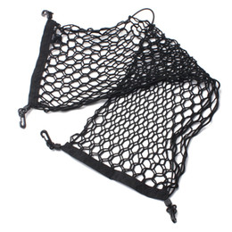 car trunk cargo netting UK - 90x 30cm Black Envelope Style Car Rear Trunk Mesh 4 Loops Double Layers Cargo Tiding Auto Net Storage Bag Pocket