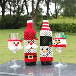wine glasses for christmas Australia - Fashion Knitting Grid Bottle Bag Christmas Hat Santa Claus Snowman Wine Glass Bottle Cover Christmas Decorations For Home