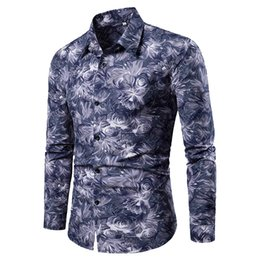 Male Flower Clothes Australia - 2019 Male Shirt Flower Men Clothes Slim Fit Men Long Sleeve Shirt Casual Social Plus turn-down collar dress