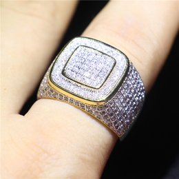 13 Rings Australia - Luxury Men Wedding Band Ring Yellow Gold Filled White Cubic Zirconia Fashion Jewelry Gift For Engagement Party Size8-13 Free Shipping
