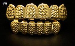 real grillz teeth NZ - Fashion-REAL SHINY REAL GOLD PLACTING Top Bottom GRILLZ Bling Mouth Teeth Caps Hip Hop Grills