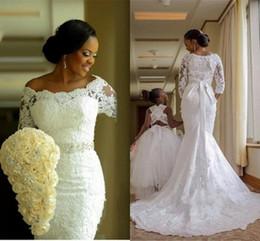 $enCountryForm.capitalKeyWord UK - 2020 African Luxury Mermaid Wedding Dresses Off Shoulder Full Lace Appliques Beads Sashes 3 4 Long Sleeves Sweep Train Nigerian Bridal Gowns