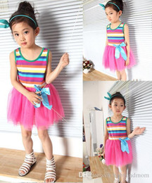 red white blue tutus Australia - 2016 Girl Dress Hot Candy Color Striped Infant Lace Princess Party Dress Sleeveless vest Childrens Tutu dress 10 colors