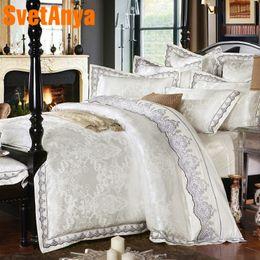 Yellow White Bedding Sets Australia - Svetanya White Bedsheet Pillowcases Duvet Cover set jacquard Bedding sets Queen King Size Bedlinen