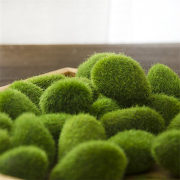 office bathroom decor NZ - 1 Bag artificial green moss ball fake stone simulation plant DIY decoration for shop window hotel home office plant wall decor