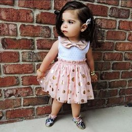 Wholesale Summer Toddler Kids Girls clothes Polka Dot turn down collar sleeveless cotton casual Baby Tulle Party Mini Dresses one pieces