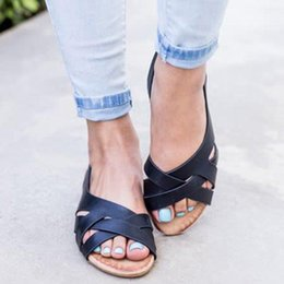 Gold Sandals For Girls Australia - Retro Sandals Flat Women Leather Shoes Ladies Beach Fashion Sandalias Outdoor Casual Big Size Summer Sandal For Girls Open Toe
