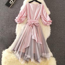 Lace Pleated Australia - Preppy Style 2018 Lace Dress Suit Elegant Mesh Long Midi Slim Pleated Dress Work Casual Dress Summer Autumn Y190507