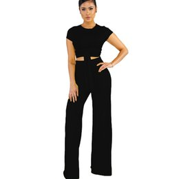 f18f6a385 Womens Sets Summer Solid Color Sexy Two Piece bandage Sexy Short Sleeve Crop  Tops and Pants Suits Outfits For Female