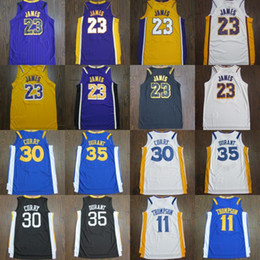 mens basketball jerseys 2019 - New 23 James Mens Basketball Jerseys 30 Curry 35 Durant 11 Thompson new arrival Stitched Basketball Shirts cheap mens ba