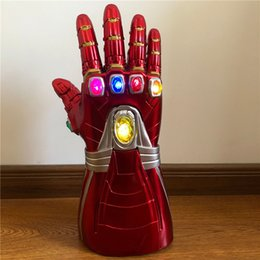 war glasses UK - 1: 1 LED Light Thanos Gauntlet Fingers Flexible War Cosplay LED Gloves Kids Halloween Costume Pro Gift