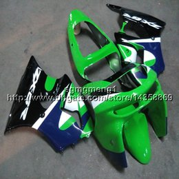 Gifts Green Plastic Australia - Screws+Gifts green blue motorcycle cowl for Kawasaki ZX-6R 1998-1999 98 99 ZX6R 1998 1999 98-99 ABS Plastic Fairing