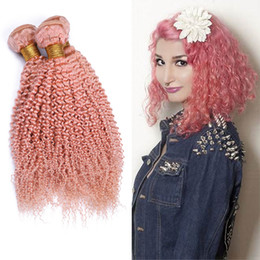 $enCountryForm.capitalKeyWord Australia - Afro Kinky Curly Human Hair Extensions Pink Color Hair Bundles Pure Pink Color Hair Weaves 3Pcs Lot For Woman Free Shipping