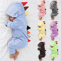 431d419f34c9 7 Colors Baby Boy Girl 3D Dinosaur Costume Solid pink gray Rompers spring  autumn cotton romper Playsuit Clothes