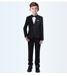 Handsome Kids Suits Australia - Handsome Two Buttons Notch Lapel Kid Complete Designer Handsome Boy Wedding Suit Boys Attire Custom-made (Jacket+Pants+Tie) A53