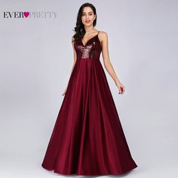 Pretty Backless Prom Dresses Australia - Prom Dresses Satin 2019 Ever Pretty EP07859 Sexy V-neck Sequined Backless Red Long Formal Party Gowns Cheap Prom Long