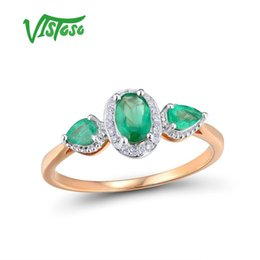 Roses For Women Australia - Vistoso Gold Rings For Women Genuine 14k 585 Rose Gold Ring Magic Emerald Sparkling Diamond Engagement Anniversary Fine Jewelry Y19052301