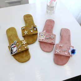 women cartoon flip flop NZ - cartoon animation appliques slippers bling flower decoration flip flops woman crystal floral suede beach slides 2019 new mules