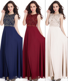 Robes Red caRpet online shopping - Cheap Navy Blue Chiffon A Line Beading Prom Dresses Long Robe De Soiree Beaded Crystals Long Party Evening Gowns CPS417