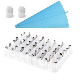 $enCountryForm.capitalKeyWord Australia - Stainless Steel Nozzle Set Silicone Icing Piping Cream Pastry Bag 51pcs DIY Cake Decorating Tips With Converter 51pcs set LJJO6444