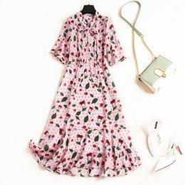 Ribbon Print Australia - 2019 Spring Luxury Short Sleeve Crew Neck Floral Print Silk Ribbon Tie-Bow Mid-Calf Dress Fashion Casual Dresses M1710720