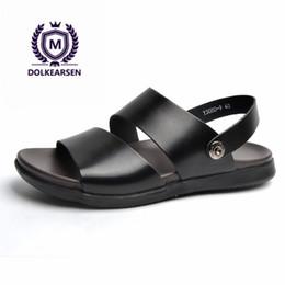 Open Toe Genuine Leather Sandals Australia - DOLKEARSEN 2018 Summer Men's Sandals Genuine Leather Simple Black Comfortable Men Beach Shoes Cow Leather Open-toe Sandals Men