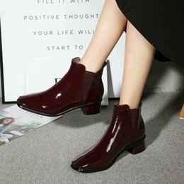 $enCountryForm.capitalKeyWord Australia - International big luxury new patent leather mirror booties square head wine red black with high-top women's boots factory price 35-39