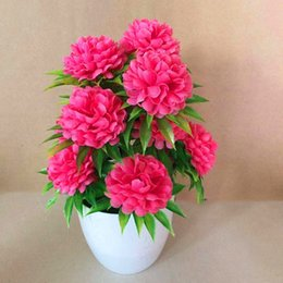 potted rose plants UK - Indoor Artificial Bonsai Garden Decor Plant Display Potted 10*20cm Welcoming Chrysanthemums