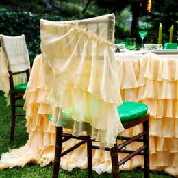 Vintage White Chair Australia - Custom Made Chiffon Tiers Wedding Chair Covers Beautiful Cheap Wedding Party Decorations Vintage Chair Sashes Supplies C04