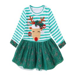 $enCountryForm.capitalKeyWord Australia - 2019 Hot Sale Fashion INS Baby Girls Dress Christmas Outfits Clothes Toddler Deer Striped Xmas Princess Fuller Lace Dresses For Kid's Gift