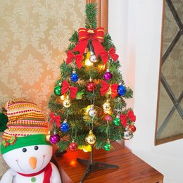$enCountryForm.capitalKeyWord Australia - Mini 60cm Light Christmas Tree With Colorful Toy Balls Office Table Party Home Decorative Light Xmas Tree New Year Kids Gifts