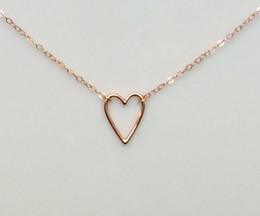Heart Shaped Chains For Couples Australia - 10 New simple lovers Hollow Out Open Heart shaped pendant Necklaces Simple Wire Wrapped Love Heart Necklaces for Lovers Couples jewelry