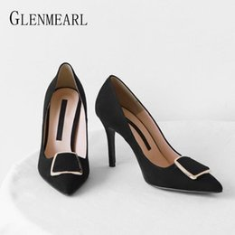 Discount thin brick High Heel Pumps Women Shoes Brand Female Thin Heel Metal Decoration Classics Women Pumps Pointed Toe Offical Ladies Shoe