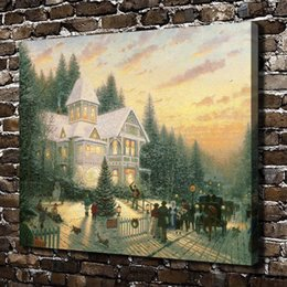 Framed Christmas Paintings Australia - Thomas Kinkade,Victorian Christmas,1 Pieces Canvas Prints Wall Art Oil Painting Home Decor (Unframed Framed) 16x20.