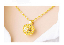 Necklaces Pendants Australia - 1 Lucky Simulation Gold Three-dimensional Love heart Apple Pendant Necklace High Imitation Gold hollow Geometric Round Apple Necklace