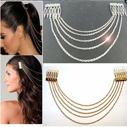 Discount hair accessories comb chain - TS637 Wedding Hair Jewelry Chains Fringe Tassel Hair Comb Accessories Party Headdress For Girl Women Bride Head Wear 201