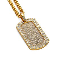 Dog Plates Australia - Fashion Men Hip Hop Jewelry 18k Gold Plated Dog Tag Pendant Necklace Personality Iced Out Full Rhinestone American Star Popular Wear
