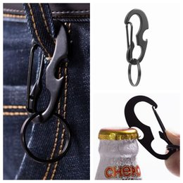 bottle carabiner Australia - Outdoors Portable Carabiner Type D Buckle Metal Fast Fastening Keychain Bottle Opener Spring Hook Multi Function Outdoor Gadgets ZZA1052