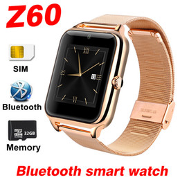 Bluetooth Smart Watch Sim Australia - Bluetooth Smart Watch Z60 Wireless Smart Watches Stainless Steel For IOS Android Support SIM TF Card Camera Fitness Tracker with Retail Box