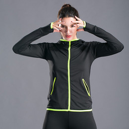 Womens Zipper Sweatshirt NZ - Sport Jacket Womens Hooded Running Jacket Women Running Sweater Sports Coat Ladies Thumb Hole Yoga Zipper Gym Sweatshirts