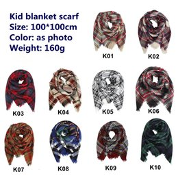 blanket scarves 2019 - Baby Girls Winter Plaid scarf plaid warm cashmere scarves shawls KIDS Plaid Blanket Scarves and Wraps DHL FREE LE187 dis