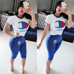 1b7859ee1ad Outfits black leggings online shopping - Summer Casual Champions Letter  Tracksuit Women Designer Clothes Set Outfits