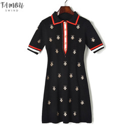 Wholesale linen dresses for sale - Group buy Fashion Designer Dresses Women Contrast Turn Down Collar Bees Knitted Button Short Sleeve Runway Embroidery Dress