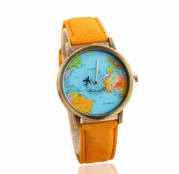 Watches Unisex Golden Round Shell World Map By Plane Watch Date Quartz Denim Fabric Wristwatch Analog Mujer Relogio Feminino