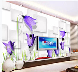 $enCountryForm.capitalKeyWord Australia - Fantasy purple flowers 3D box TV background wall wallpaper for walls 3 d for living room