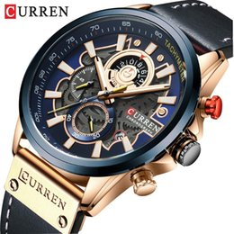 Discount curren sport watches NEW CURREN Fashion Sport Watch Men Blue Top Leather Wrist Watches Man Clock Casual Chronograph Wristwatch