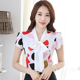 $enCountryForm.capitalKeyWord Australia - Candy Colors Printed Lady Summer Blouses Plus Size S-3xl Short Sleeve Tops 2018 Girls Casual White Shirts Y19062601