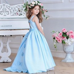 white princess style prom dresses NZ - New Style Charming Light Blue Princess Pageant Flower Girl Dress Kids Party Birthday Prom Children Gown YYA9