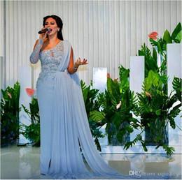 618a4d9a4b58 2018 Sheath Evening Dresses with Long Cape Sash One Shoulder Sequin Beadeds  Asymmetric Plus Size Custom Made Sash Chiffon Column Prom Gowns
